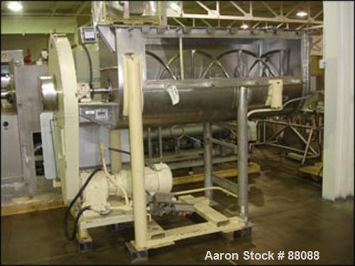 "Used- J.H. Day Ribbon Blender, 36 Cubic Feet Working Capacity, Stainless Steel. 30"" Wide x 78"" long trough, double ribbon, 4..."