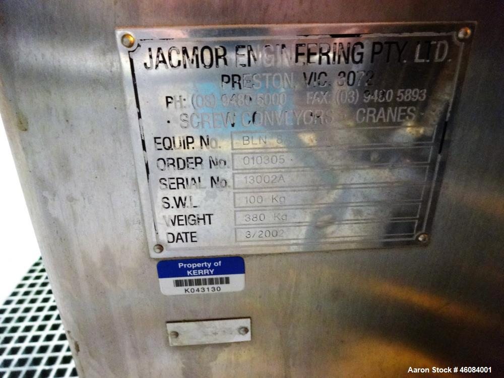 Used- Jacmor Engineering Double Spiral Ribbon Batch Mixer, Model BLN 8A, Stainle