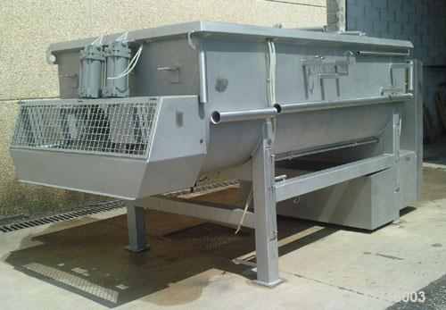"""Used-Karl Schnell Twin Shaft Ribbon Mixer. All stainless steel, capacity 1190 gallons (4,500 liters). Bowl dimensions 5'3"""" l..."""