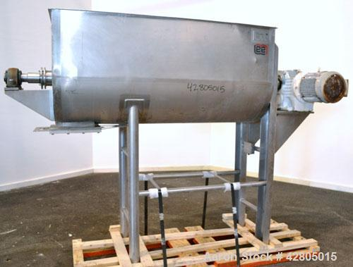 Used- Lee Industries Double Spiral Ribbon Blender, 33.3 Cubic Feet Working Capacity, Model 200TDR, 316 Stainless Steel. #4 F...