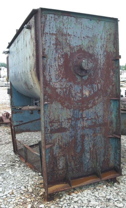 """Used- Marion Interrupted Double Spiral Ribbon Blender, 130 Cubic Feet, Carbon Steel. Carbon steel bottom jacketed trough 47""""..."""