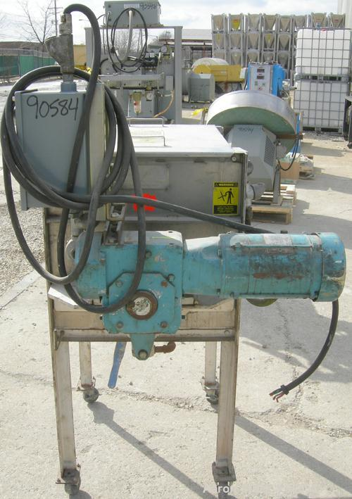 """Used:Marion paddle mixer, model 1101, 4 cubic feet, 304 stainless steel.Dimpled jacketed trough 18"""" wide x 24"""" long x 21"""" de..."""