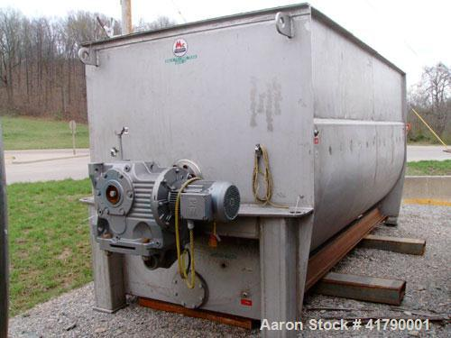"Used- McCarter Ribbon Mixer, approximately 1,000 cubic feet/5,000 gallon capacity, stainless steel. Trough measures 7'6"" wid..."