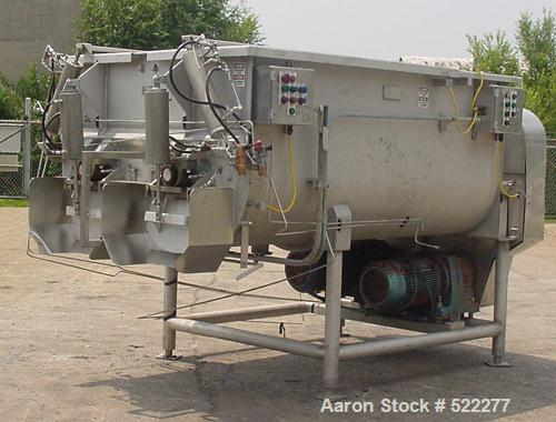 USED: Mepaco model 170 MD twin screw mixer/blender. 5,000 lb or 136 cu ft capacity. Equipped with pneumatically operated end...