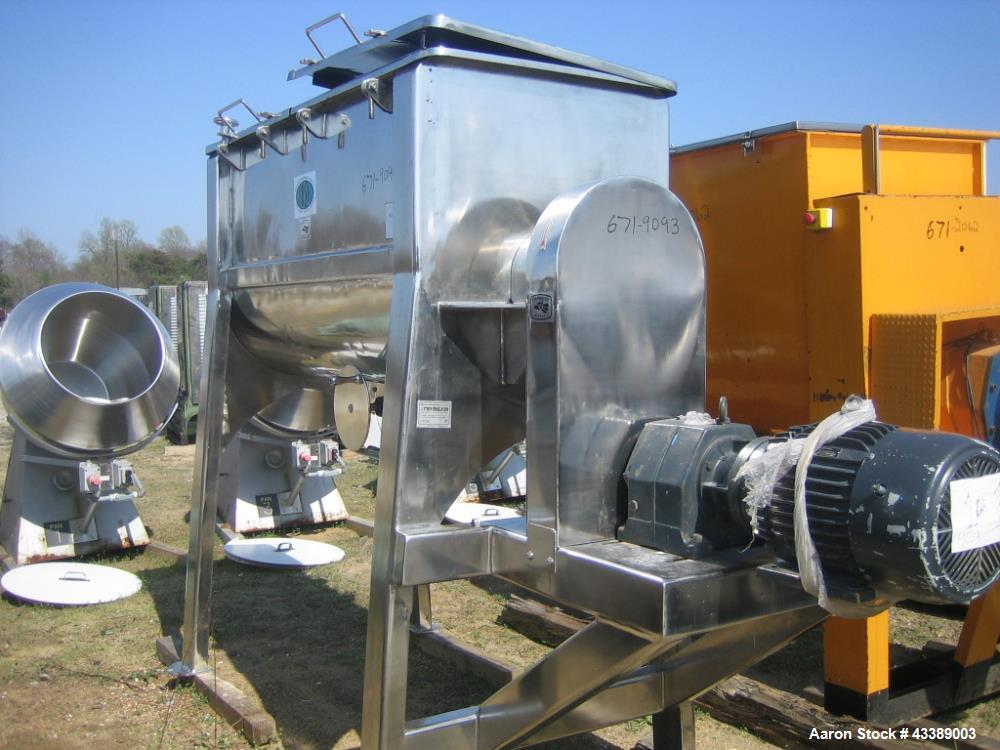 Used- Micron Single Ribbon Blender, 30 Cubic Feet, Polished Stainless Steel. Single interupted ribbon. Driven by a 15hp, 3/6...