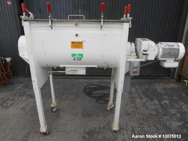 "Used- Munson, Model HDI 1/2-3 Jacketed Ribbon Blender. Stainless Steel Contact Parts, 3 HP drive. S/N 12895-A, body is 36"" x..."