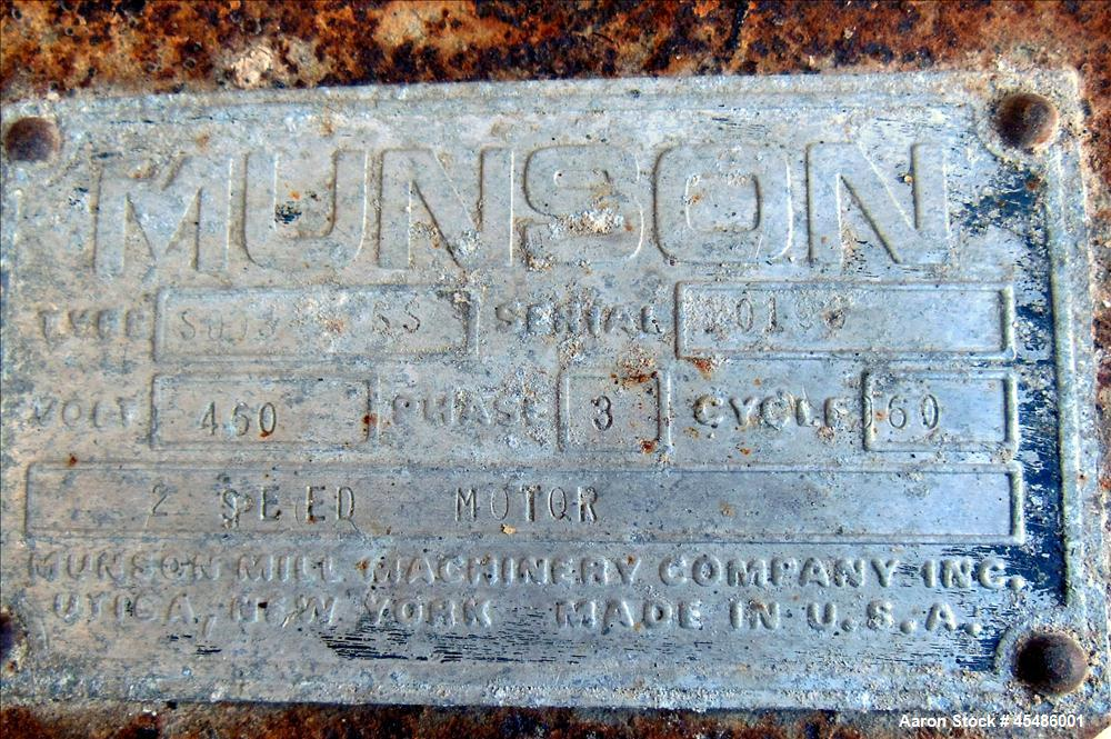 Used- Munson Ribbon Blender, Model Sd-03-6-SS, 63 Cubic Feet, stainless steel pa