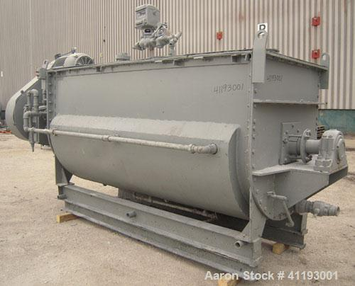 """Previously owned - Single Ribbon Blender, 142 Cubic Feet, 304 Stainless Steel. Jacketed trough 48'' wide x 120"""" long x appro..."""
