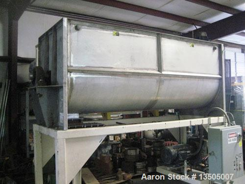 "Used-Ribbon Mixer, 42"" wide x 120"" long.Food grade stainless steel, 90-100 cubic foot mixing capacity, carbon steel support ..."