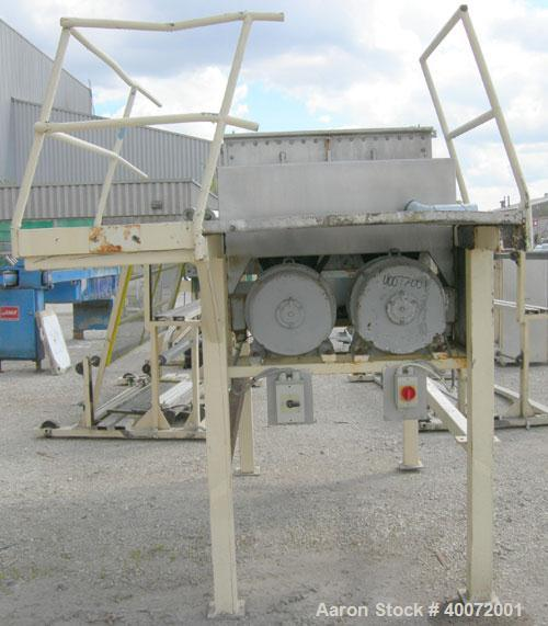 Used- Twin Shaft Ribbon Mixer, Approximately 41 Cubic Foot Capacity, 304 Stainless Steel.  304 stainless steel jacketed trou...