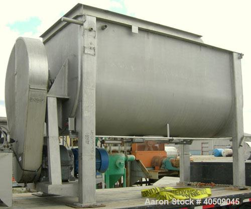 """Used- Double spiral ribbon blender, 267 cubic feet working capacity, 304 stainless steel. Non-jacketed trough 60"""" wide x 144..."""