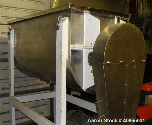 "Used- Ribbon Blender, 25 Cubic Feet, Stainless Steel. Non-jacketed trough 29"" wide x 58"" long x 32"" deep, 6"" center bottom o..."