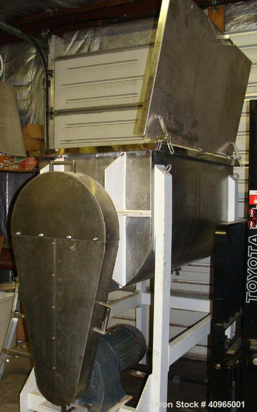 """Used- Ribbon Blender, 25 Cubic Feet, Stainless Steel. Non-jacketed trough 29"""" wide x 58"""" long x 32"""" deep, 6"""" center bottom o..."""