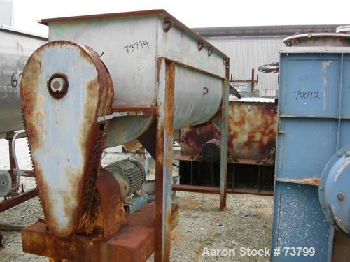 """Used- Double Spiral Ribbon Blender, 80 Cubic Feet Working Capacity, 304 Stainless Steel. Non-jacketed trough 36"""" wide x 120""""..."""