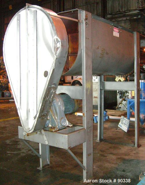 """USED- Ribbon Blender, 64 Cubic Feet Working Capacity, 304 Stainless Steel. Non-jacketed trough 36"""" wide x 96"""" long x approxi..."""