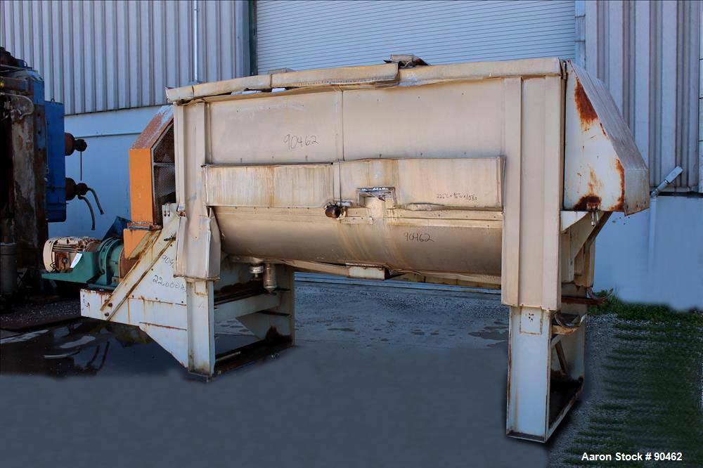 Used: Carbon Steel Double Spiral Ribbon Blender, Approximately 100 Cubic Feet Wo