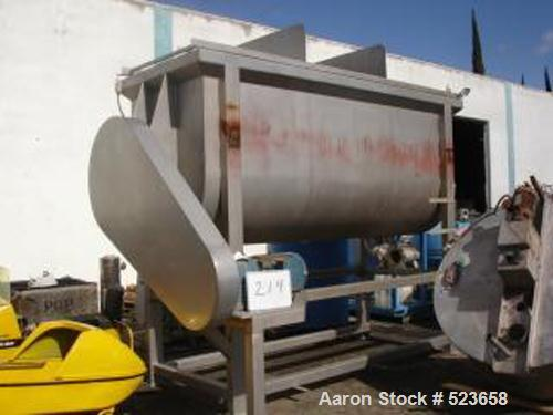"USED: OHI 240 cubic foot double ribbon blender. 48"" wide x 12' long x5' deep, all stainless steel construction, with (2) 6"" ..."