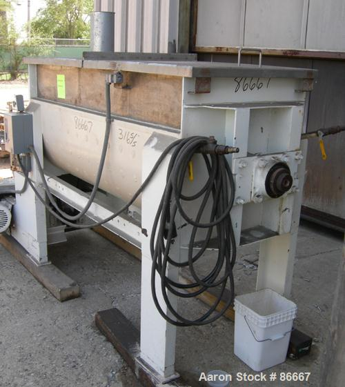 USED: Patterson Foundry Machine double spiral ribbon blender, 19.5 cubic foot working capacity, 304 stainless steel. Carbon ...