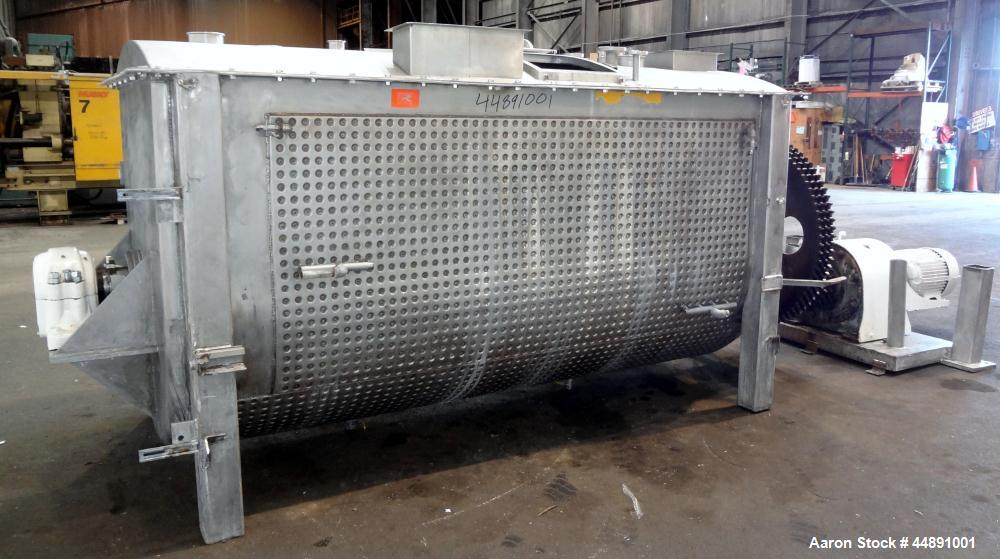 Used- Mueller Double Spiral Ribbon Blender, 220 cubic feet working capacity, 304 stainless steel.  304 Stainless steel non-c...