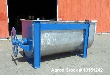 "Used- Paul O Abbe 175 Cubic Foot Ribbon Mixer. Stainless steel construction (product contact areas). Hinged top cover, 6"" bo..."