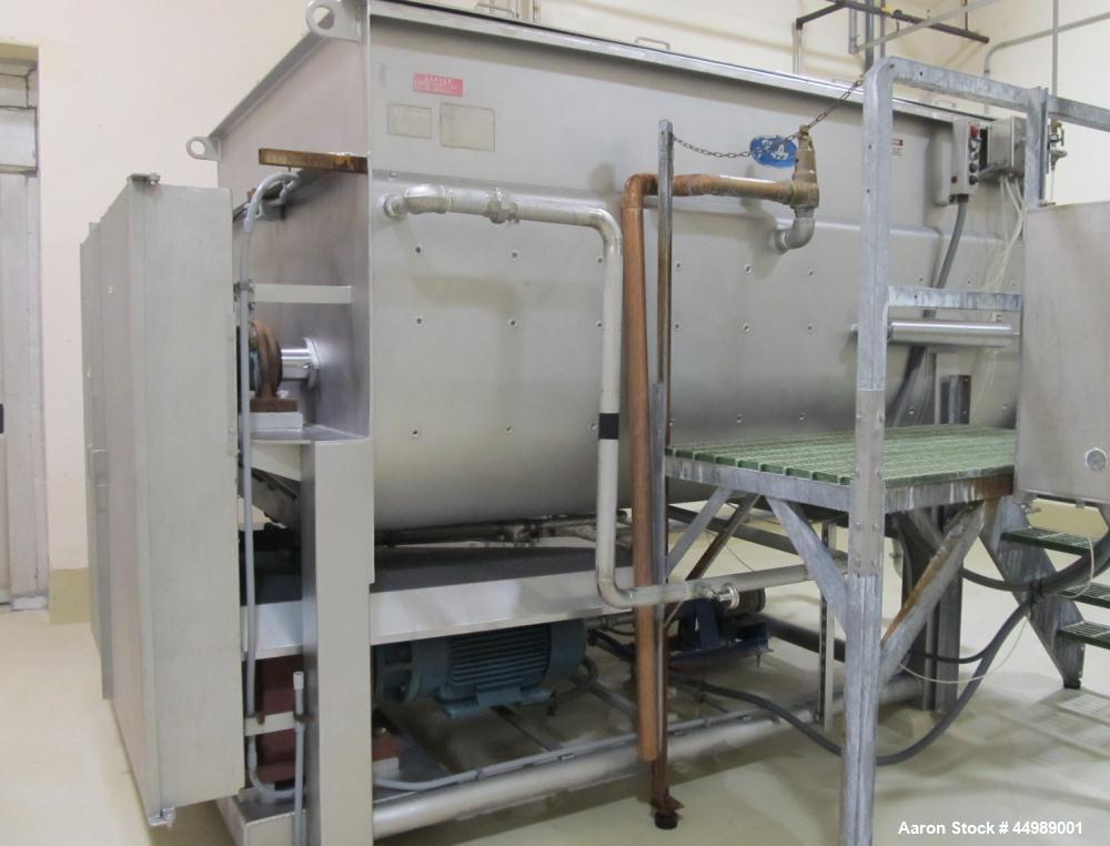 Used-Rietz Twin Shaft Ribbon Mixer, Model RS40-K-3210.  Stainless steel construction, approximately 250 cubic foot capacity,...