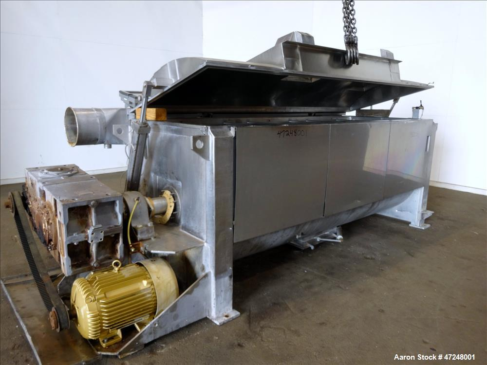 Used- Ross Ribbon Blender, Approximate 100 Cubic Feet, 304 Stainless Steel.