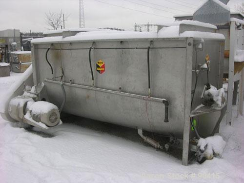 "USED: Scott ribbon blender, model GHM5410, 156 cubic feet, 304 stainless steel. Non-jacketed trough 54"" wide x 10' long. Out..."