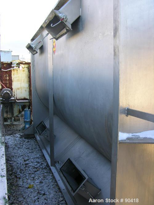 """Used- Scott Equipment Ribbon Blender, Model GHMA6613, 300 Cubic Feet, 304 Stainless Steel. Non-jacketed trough 66"""" wide x 13..."""