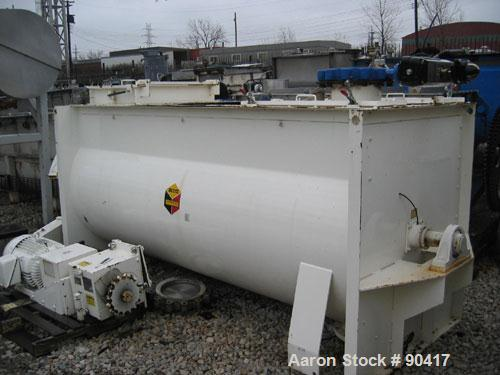 "USED: Scott ribbon blender, model SHRM4810, 125 cubic feet, carbon steel. Non-jacketed trough 48"" wide x 10' long. Outboard ..."