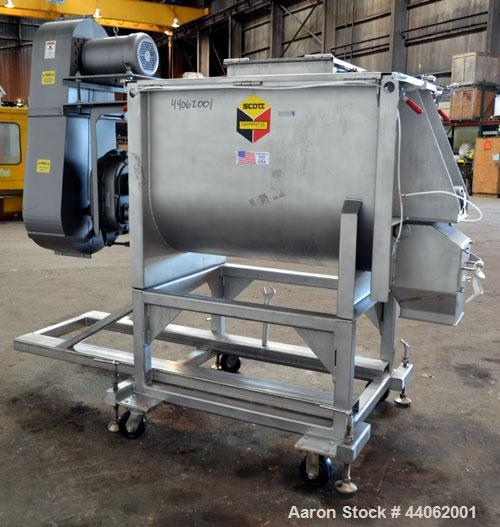 Used- Scott Equipment Paddle/Ribbon Blender, Model SPRM304SS, 20 Cubic Feet Working Capacity, 304 Stainless Steel. Non-jacke...
