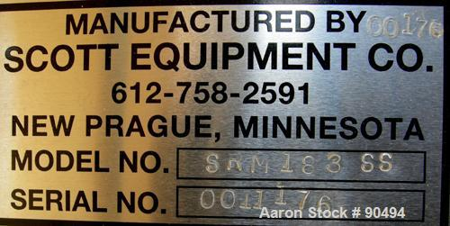 USED: Scott Equipment Co double spiral ribbon blender, model SRM183SS, 6 cubic feet, 304 stainless steel. Non-jacketed troug...
