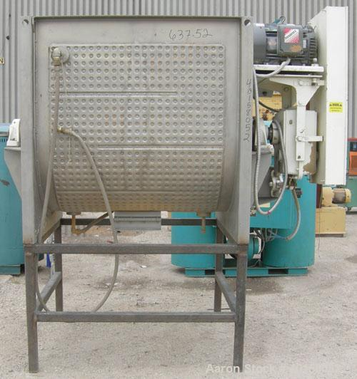 Used- Scott Equipment Co double spiral ribbon blender, approximately 56 cubic feet working capacity, 304 stainless steel. Di...