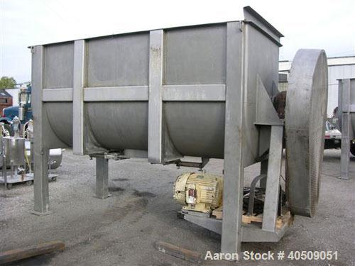 Used- Sprout Waldron Double Spiral Ribbon Blender, Model 14,000#, 267 cubic feet working capacity, stainless steel. Non- jac...