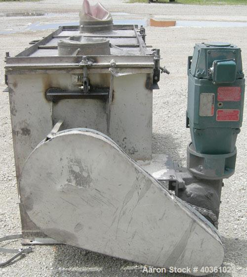 Used- Stricklin Company Ribbon Blender, 21 Cubic Feet, 304 Stainless Steel. Non-jacketed trough 24'' wide x 72'' long x appr...