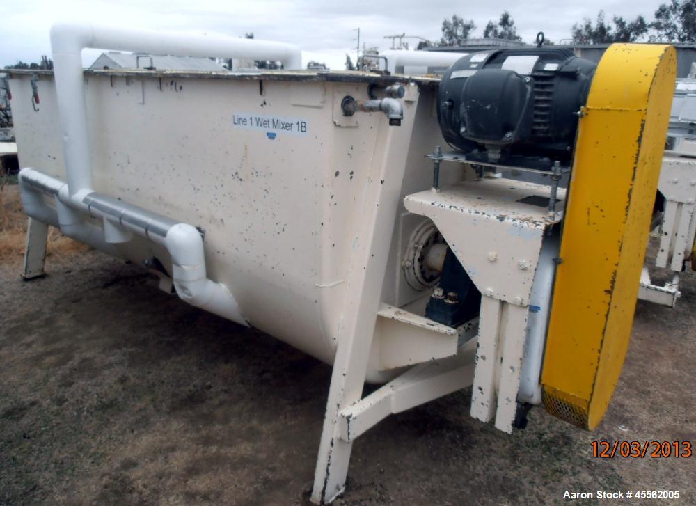 Used- Carbon Steel Ribbon Blender, Approximate 100 Cubic Feet