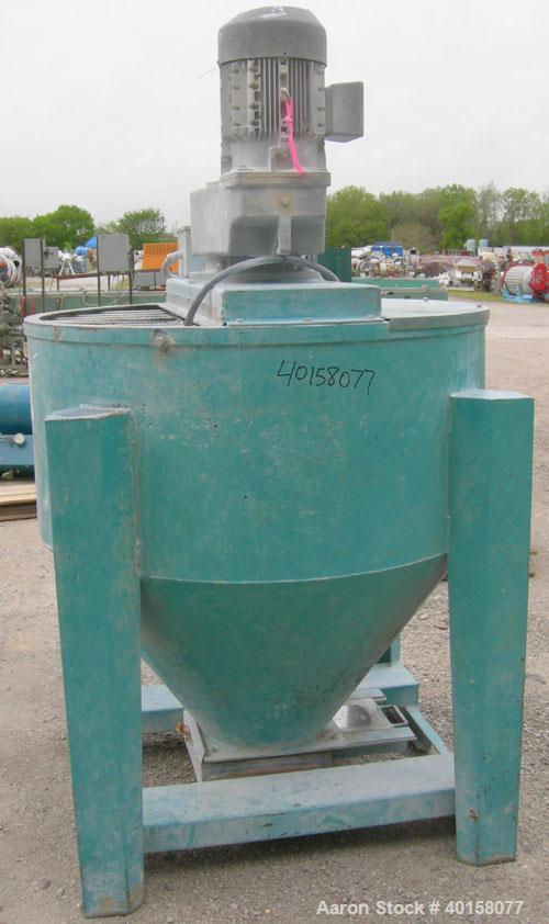 """Used- Universal Dynamics Vertical Ribbon Mixer, approximately 26 cubic feet, model 65-2000, carbon steel. 48"""" diameter x 22""""..."""