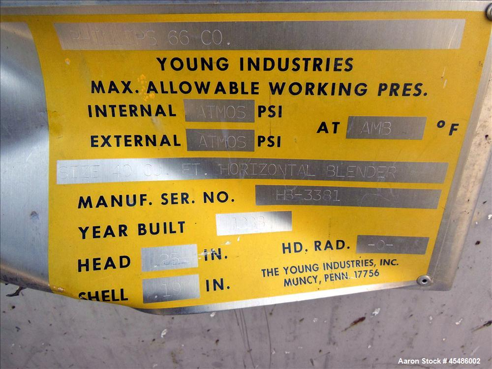 Used- Stainless Steel Young Ribbon Blender, Model 40-HB, 59 Cubic Feet