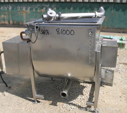 Used: Stainless Steel Crepaco single arm mixer, approximately 170 gallon working capacity