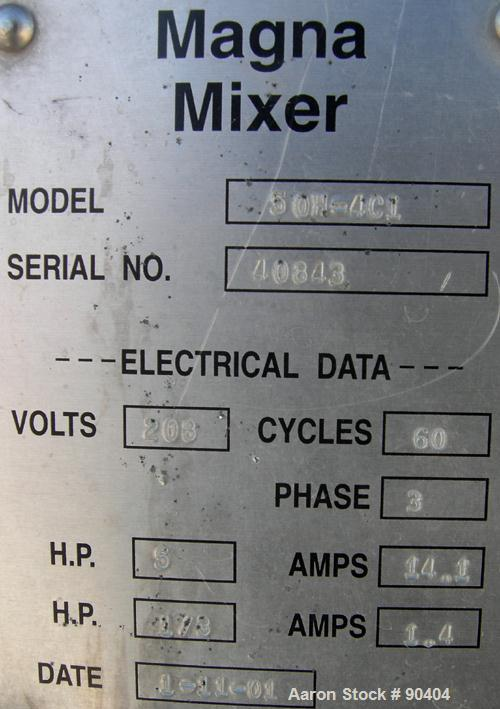 Used- Magna High Speed Single Arm Mixer, Model 50H-4C1