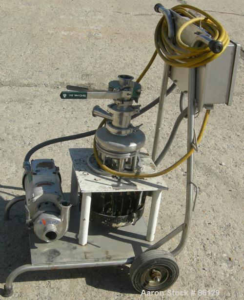 "Used- Tri Clover Tri Blender, Model F2116-EZ-SYS, 316 Stainless Steel. 4-1/2"" diameter x 1-1/2"" high 3 blade impeller. Drive..."