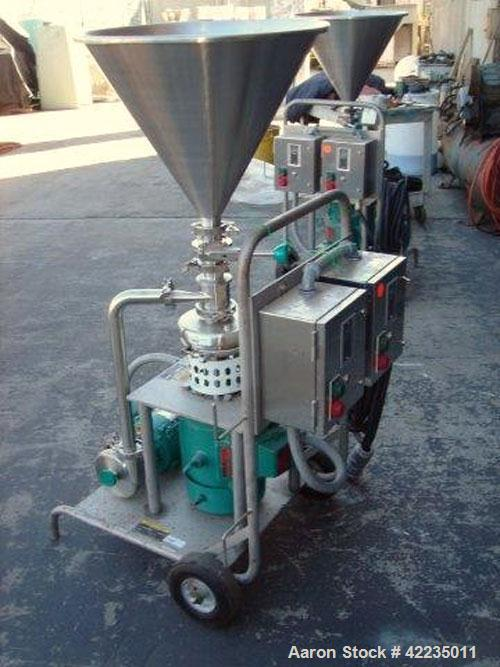 "Used- Tri-Clover Tri-Blender, Model F2116MDG-SYS-460, Stainless Steel. 4-1/2"" diameter x 1-1/2"" high 3 blade impeller. Drive..."