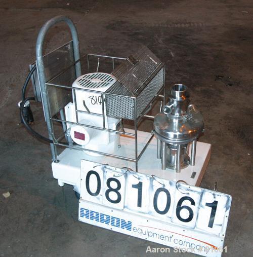 "USED:Tri Clover Tri Blender, model F3218, 316 stainless steel.Approx 10"" diameter impeller, 4-1/2"" tri-clamp powder inlet (n..."