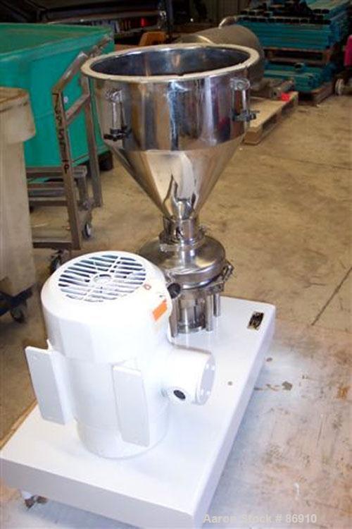 """Used- Tri Clover Tri-Blender, Model F3218MD-B40, 316 Stainless Steel. Approximate 7.5"""" diameter impeller. 2-1/2"""" NPT powder ..."""