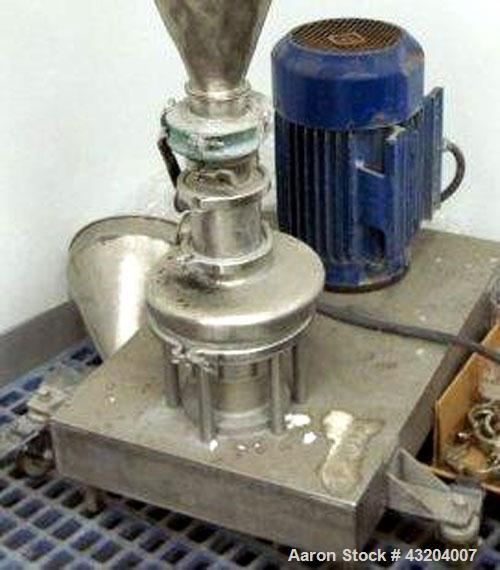Used- Tri-Clover Tri-Blender Mixer, Stainless Steel.4'' Tri-clamp hopper infeed.10 hp.