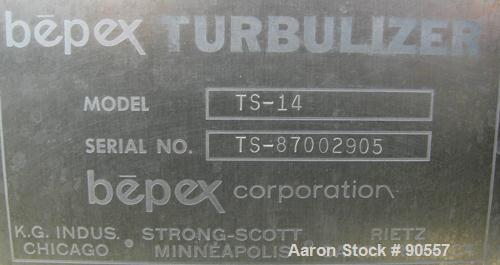 """USED:Bepex turbulizer, model TS-14, 304 stainless steel.14"""" diameter x 42"""" long non-jacketed chamber.3"""" diameter shaft with ..."""