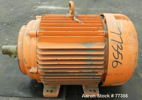 Used- Baldor Motor. 60 HP, 3/60/460 Volt, 1780 RPM. 71 Amps, service factor 1.15, insulation class F, code H, design B, fram...