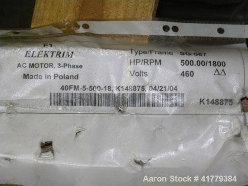 Unused- Elektrim AC Motor, 500 hp, 3/60/460 volt, 1800 rpm. Frame size SG 587