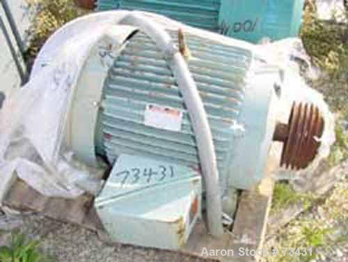 Used- Reliance AC Motor, 75 hp, 3/60/460 volt, 1780 rpm, 86 amp. Frame size 365T.