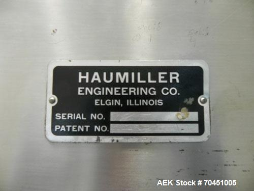 "Used- Haumiller Stainless Steel (6) Pocket Spray Tip Applicator. Single Hammer, 16"" vibratory feeder bowl. Approximate 24"" x..."