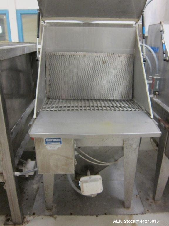 """Used- Hapman Vibrating Dump Station, Stainless Steel. Includes a Dust Collector. Approximate 30"""" long x 16"""" wide x 37"""" high ..."""